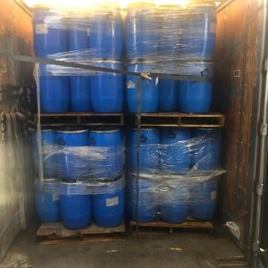 13 Gallon Blue Barrels with Metal Rings